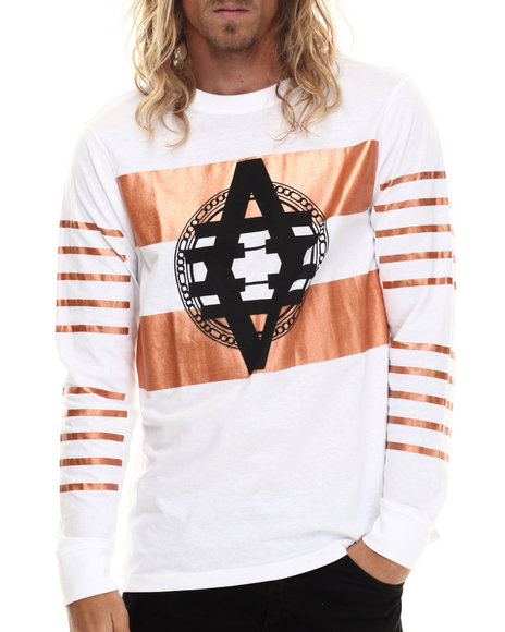 Akademiks - Men White,Bronze Skyline Copper Foil L/S Shirt