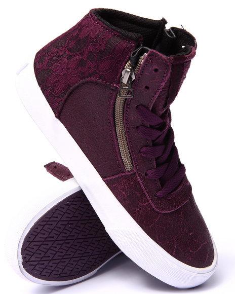 Supra - Women Purple Supra Cuttler Leather & Lace Sneaker