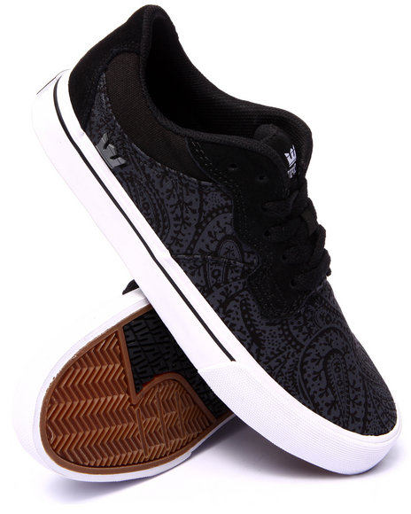 Supra - Men Black Axle Black Canvas Grey Paisley Print Sneakers