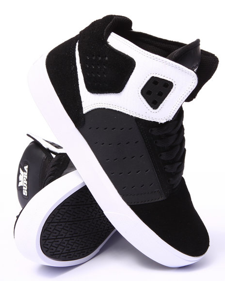 Supra - Men Black,White Atom Black Suede/Oiled Nubuck Sneakers
