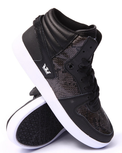 Supra - Men Black Magazine Black Leather Snake Print Sneakers