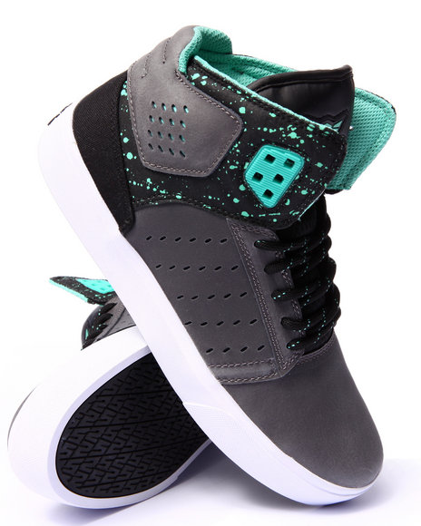 Supra - Men Green,Grey Atom Oiled Grey Nubuck/Black Nylon Sneakers
