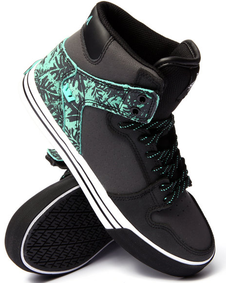 Supra - Men Black,Green Vaider Black Leather/Mint Suede Sneakers