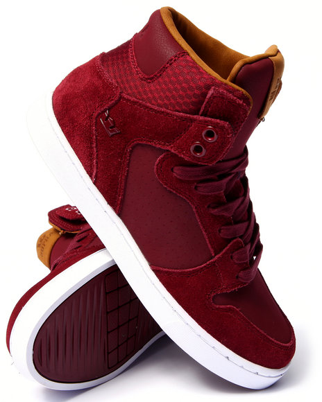 Supra - Men Maroon Vaider Lx Burgundy Suede/Leather Sneakers