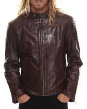 Leather Jackets - Shoulder - Striped Moto - Collar Leather Jacket