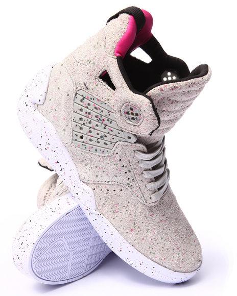 Supra - Men Grey Skytop Iv Grey Paint Speckled Suede Sneakers