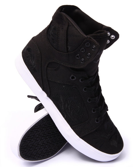 Supra - Men Black Skytop Ls Black Canvas/Rose Pattern Sneakers