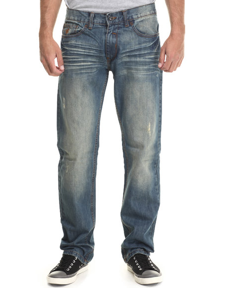 Rocawear - Men Medium Wash Flame Stitch Straight Fit Core Jeans