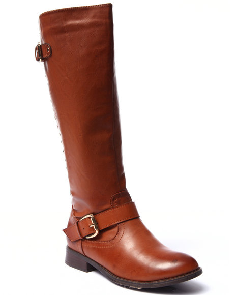 Fashion Lab - Women Tan Highnoon Studded Back Zip Up Riding Boot