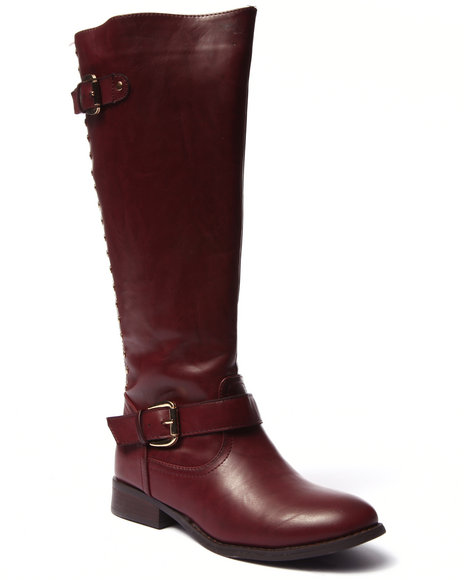 Fashion Lab - Women Maroon Highnoon Studded Back Zip Up Riding Boot