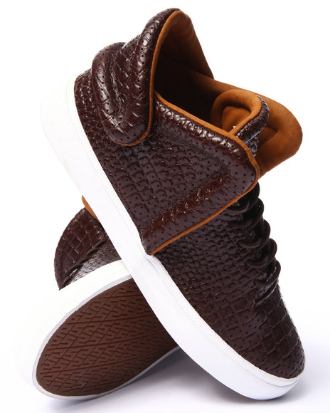 Supra - Men Brown Falcon Brown Croc Embossed Leather Sneakers