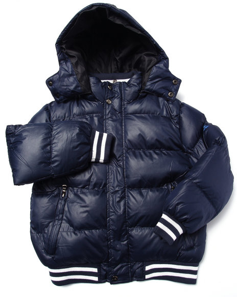 Arcade Styles - Boys Navy Steele Classic Bubble Jacket (8-20)