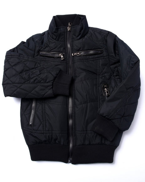 Arcade Styles - Boys Black Espoo Quilted Bomber Jacket (8-20)