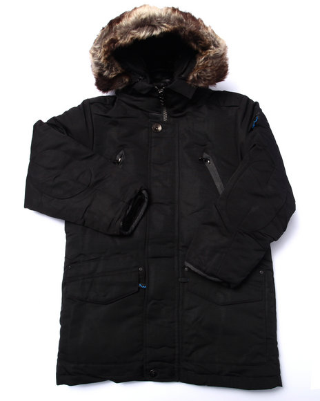 Arcade Styles - Boys Black,Black Tundra Down Snorkel Jacket (8-20)