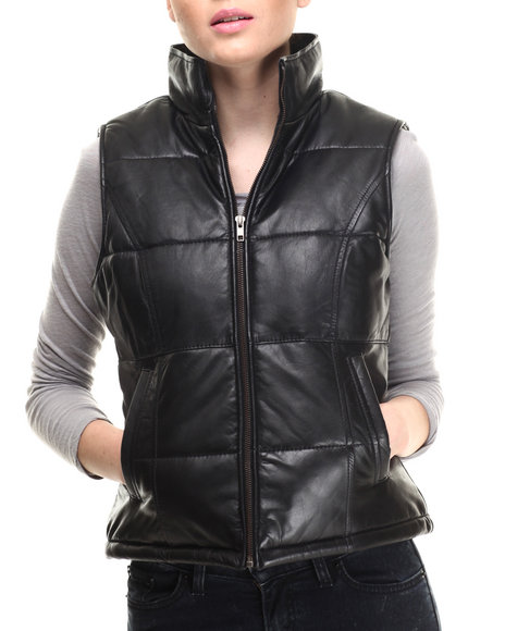 Drj Leather Shoppe - Women Black Moto Leather Vest