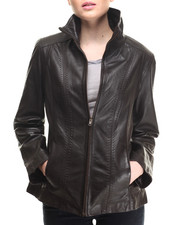 Women - LeatherMulti Stich Front Zip Jacket