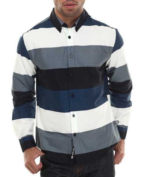 Ecko - Men Charcoal Printed Stripe L/S Button-Down