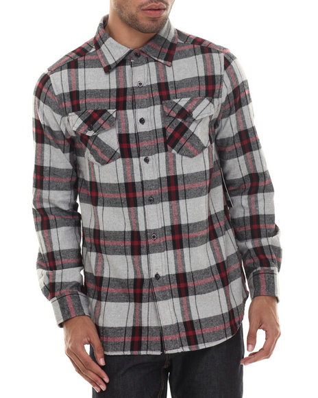 Basic Essentials - Men Grey E L X R Traditional Small - Gauge Plaid Flannel Button-Down