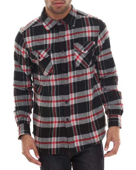 Ur-ID 206798 Basic Essentials - Men Red E L X R Traditional Large - Gauge Plaid Flannel Button-Down