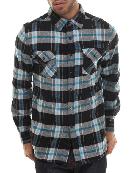 Basic Essentials - Men Green E L X R Traditional Large - Gauge Plaid Flannel Button-Down