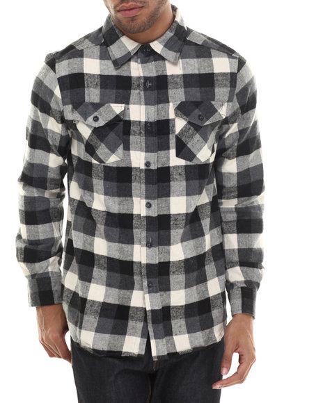 Ur-ID 206800 Basic Essentials - Men Black E L X R Small - Gauge Buffalo Plaid Flannel Button-Down