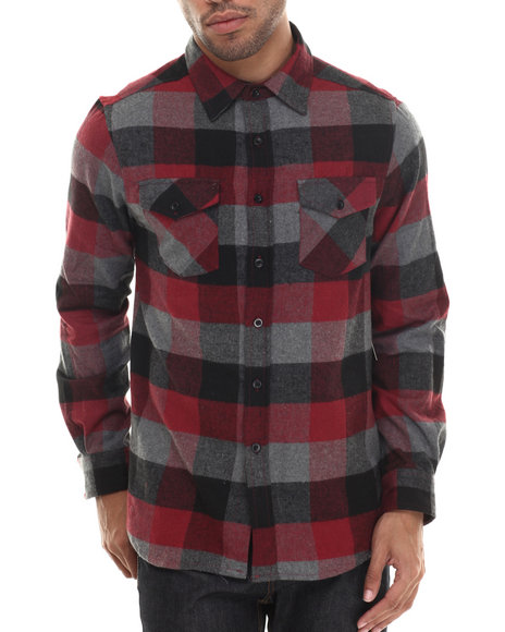Basic Essentials - Men Maroon E L X R Small - Gauge Buffalo Plaid Flannel Button-Down