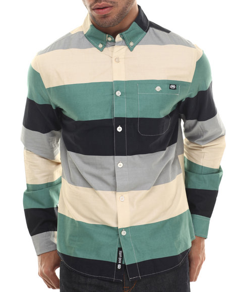 Ur-ID 206818 Ecko - Men Black Stripe Poplin L/S Button-Down