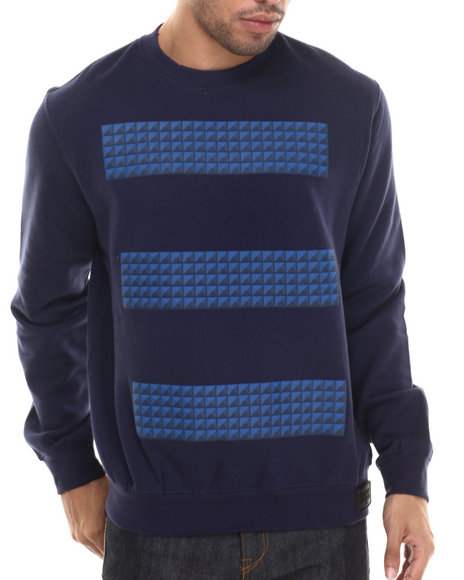 Rocawear Blak - Men Navy Studs Crew Fleece Sweatshirt