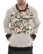Pullover Sweatshirts - Printed Contrast Sleeve Sweatshirt