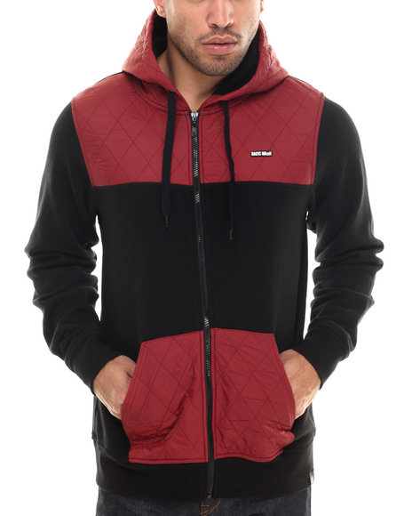 Ur-ID 206842 Basic Math - Men Maroon Contrast Panel Zip-Up Hoodie