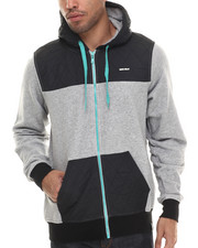 Men - Contrast Panel Zip-Up Hoodie