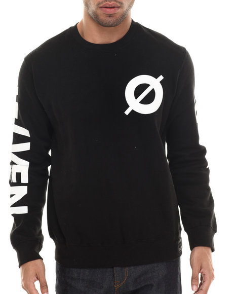 Rocawear Blak - Men Black Zero Crew Fleece Sweatshirt