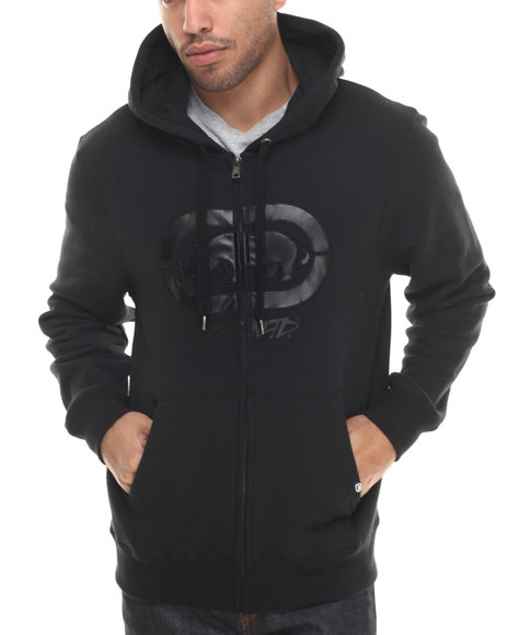 Ecko - Men Black Chest Print Fleece Hoodie