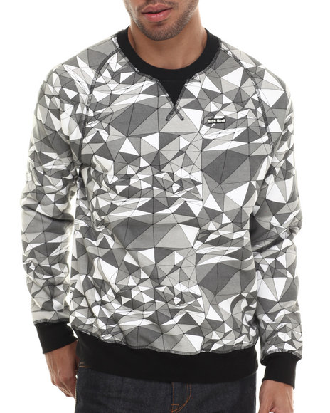 Ur-ID 206804 Basic Math - Men Grey Geo Pyramid Crewneck Sweatshirt