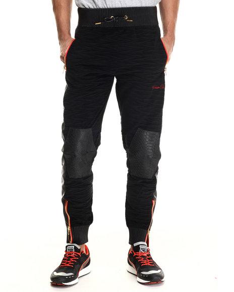 Ur-ID 206809 Frost Originals - Men Black Bengal Velour Faux Leather Quilted Jogger Pant