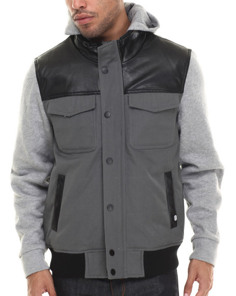 Ecko - Men Black Fleece & Pu Hooded Jacket