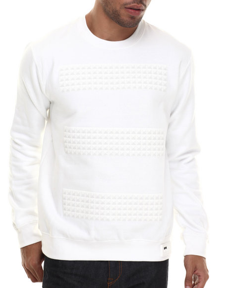 Rocawear Blak - Men White Studs Crew Fleece Sweatshirt