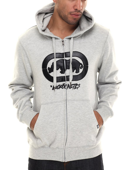 Ecko - Men Grey Chest Print Fleece Hoodie