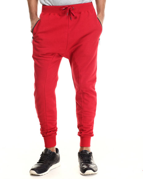 Entree - Men Red French Terry Joggers