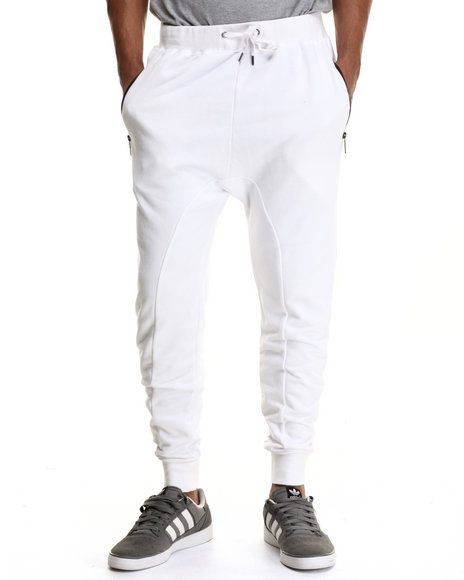 Entree - Men White French Terry Joggers
