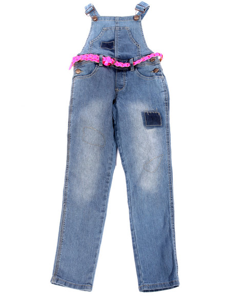 La Galleria - Girls Medium Wash Diva Belted Skinny Overalls (7-16)