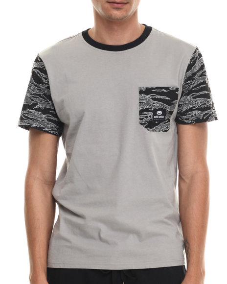 Ecko - Men Grey Contrast Print Sleeve T-Shirt