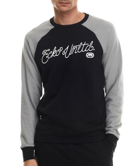 Ecko - Men Black Thermal Crew W/ Heather Sleeves