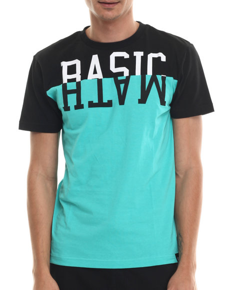 Basic Math - Men Teal Mirrored Stack Cut & Sew Signature S/S Tee
