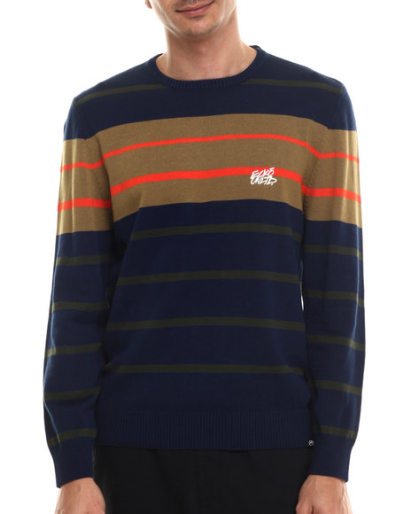 Ur-ID 206924 Ecko - Men Blue Stripe Sweater W/ Elbow Patches