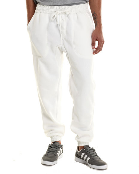 Buyers Picks - Men Off White Fleece Jogger With Faux Leather Cuff Detail