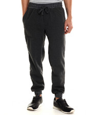 Pants - Fleece jogger with faux leather cuff detail