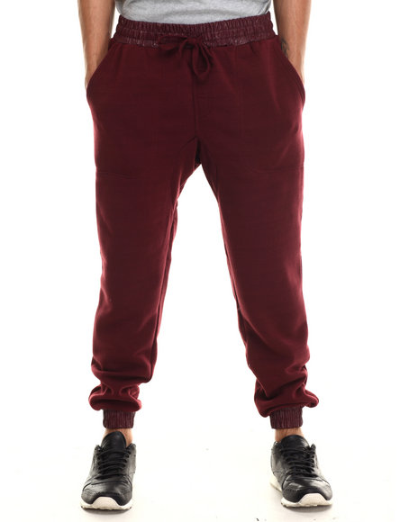 Buyers Picks - Men Maroon Fleece Jogger With Faux Leather Cuff Detai