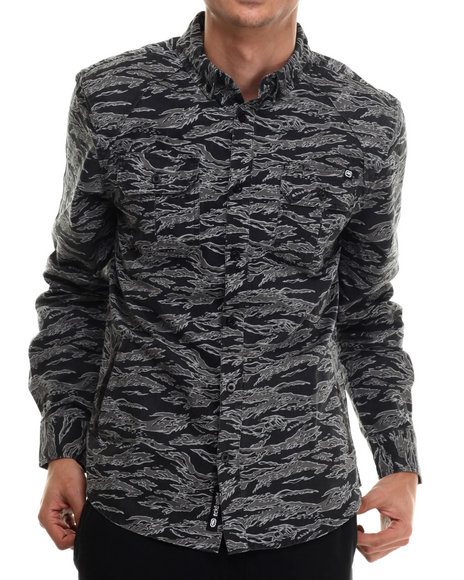 Ur-ID 206934 Ecko - Men Black Printed Twill L/S Button-Down