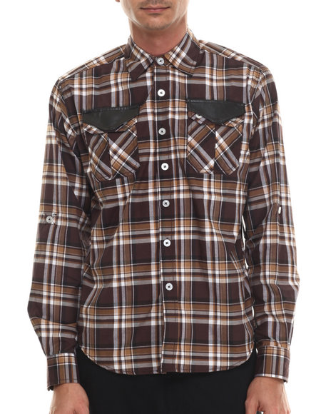 Ur-ID 206947 Enyce - Men Brown Scotty L/S Button-Down